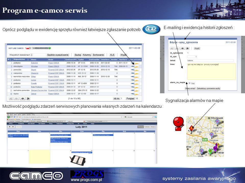 Program e-camco serwis Oprócz podglądu w ewidencję sprzętu również łatwiejsze zgłaszanie potrzeb: E-mailing i ewidencja historii zgłoszeń : Sygnalizac