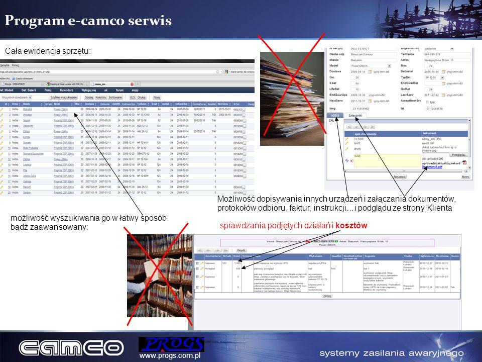 Program e-camco serwis Cała ewidencja sprzętu: możliwość wyszukiwania go w łatwy sposób bądź zaawansowany: Oraz sprawdzania podjętych działań i kosztó