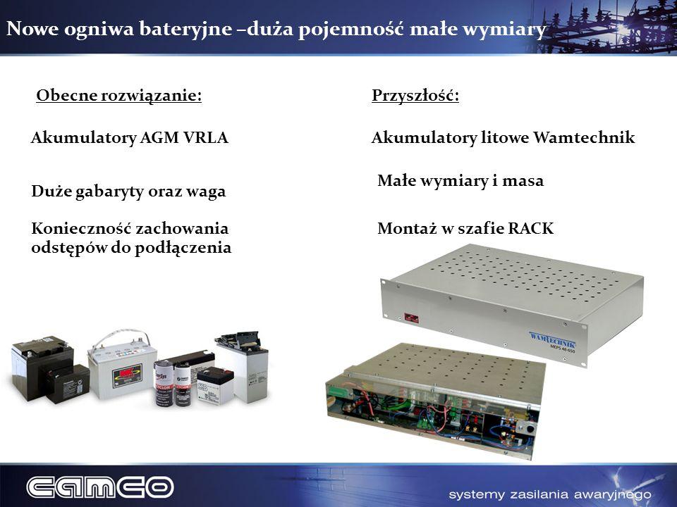 Nowe ogniwa bateryjne –duża pojemność małe wymiary Obecne rozwiązanie:Przyszłość: Akumulatory AGM VRLA Duże gabaryty oraz waga Konieczność zachowania