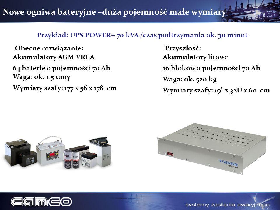 Nowe ogniwa bateryjne –duża pojemność małe wymiary Obecne rozwiązanie:Przyszłość: Akumulatory AGM VRLA 64 baterie o pojemności 70 Ah Waga: ok. 1,5 ton