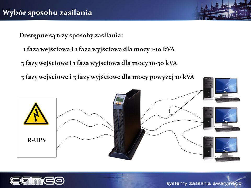 Wybór sposobu zasilania Dostępne są trzy sposoby zasilania: 1 faza wejściowa i 1 faza wyjściowa dla mocy 1-10 kVA 3 fazy wejściowe i 1 faza wyjściowa