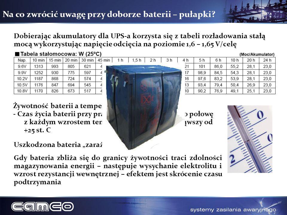 Na co zwrócić uwagę przy doborze baterii – pułapki? Dobierając akumulatory dla UPS-a korzysta się z tabeli rozładowania stałą mocą wykorzystując napię