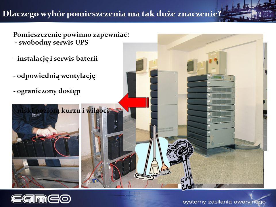 Dlaczego wybór pomieszczenia ma tak duże znaczenie? Pomieszczenie powinno zapewniać: - swobodny serwis UPS - instalację i serwis baterii - odpowiednią