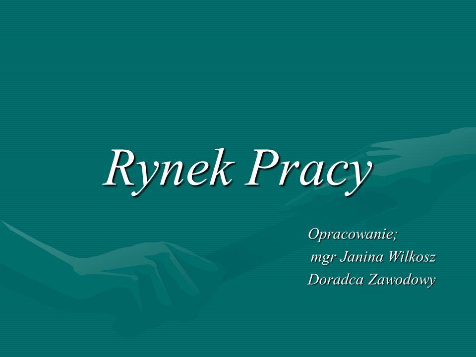 Rynek Pracy Dziękuję za uwagę Janina Wilkosz Zabierzów marzec 2007 roku