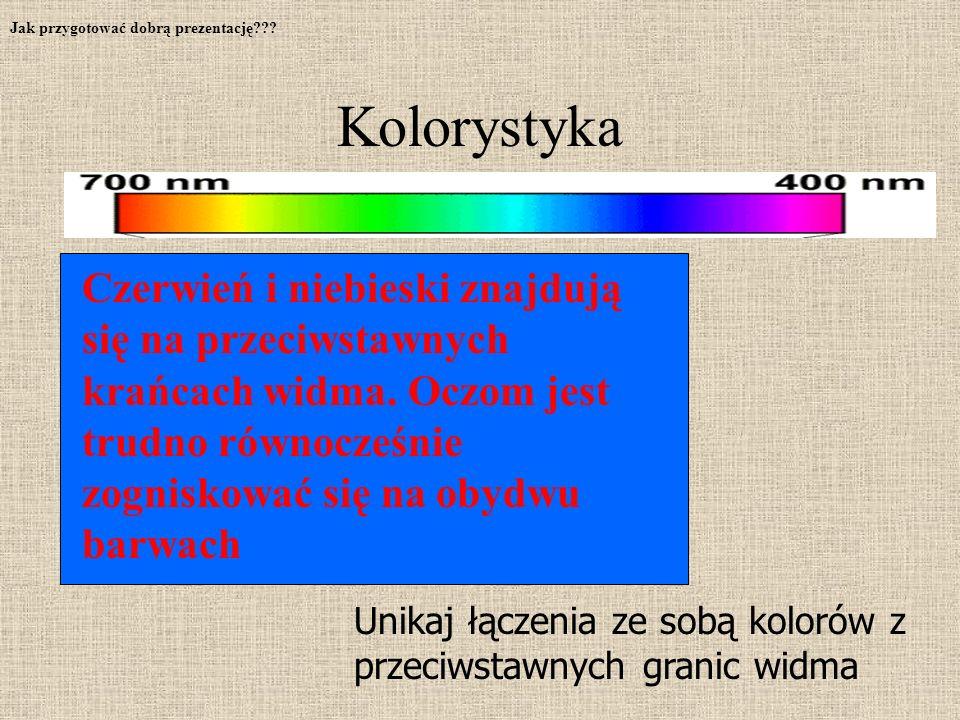 Unikaj łączenia ze sobą kolorów z przeciwstawnych granic widma Czerwień i niebieski znajdują się na przeciwstawnych krańcach widma.