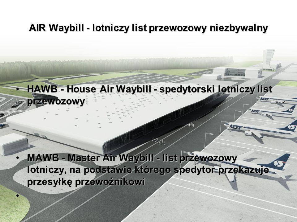 AIR Waybill - lotniczy list przewozowy niezbywalny HAWB - House Air Waybill - spedytorski lotniczy list przewozowyHAWB - House Air Waybill - spedytors