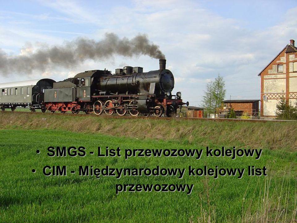 SMGS - List przewozowy kolejowySMGS - List przewozowy kolejowy CIM - Międzynarodowy kolejowy list przewozowyCIM - Międzynarodowy kolejowy list przewoz