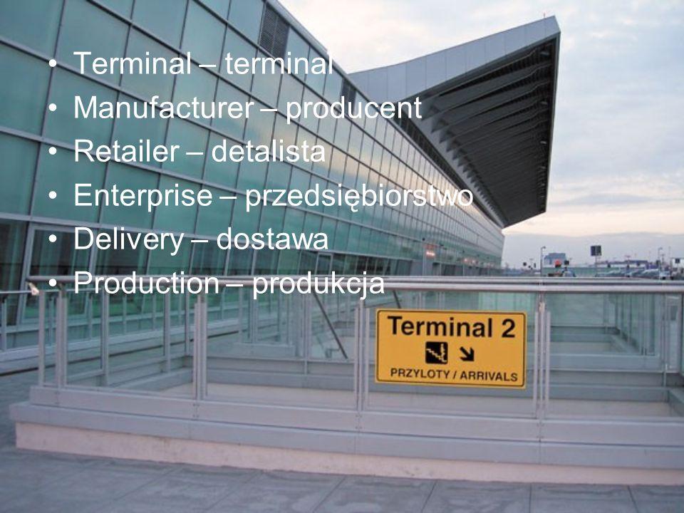 Terminal – terminal Manufacturer – producent Retailer – detalista Enterprise – przedsiębiorstwo Delivery – dostawa Production – produkcja