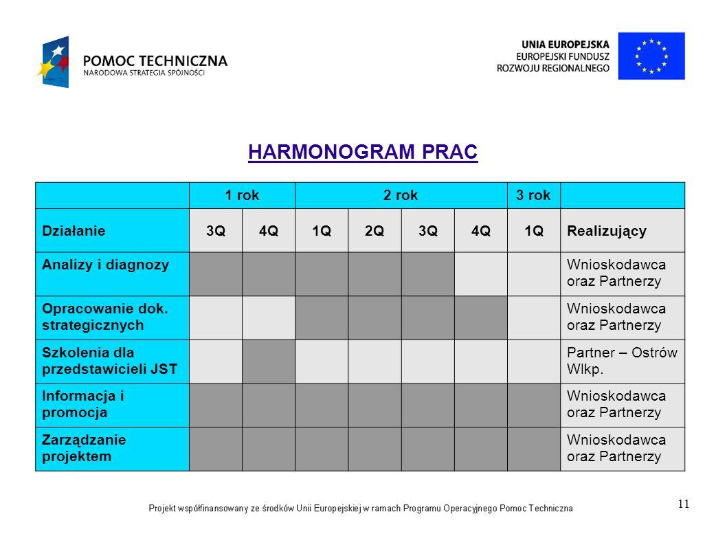 11 HARMONOGRAM PRAC 1 rok2 rok3 rok Działanie3Q4Q1Q2Q3Q4Q1QRealizujący Analizy i diagnozyWnioskodawca oraz Partnerzy Opracowanie dok. strategicznych W