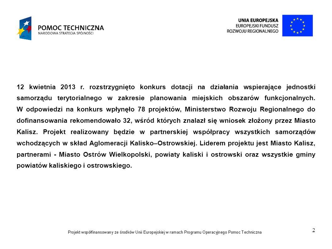 2 12 kwietnia 2013 r. rozstrzygnięto konkurs dotacji na działania wspierające jednostki samorządu terytorialnego w zakresie planowania miejskich obsza