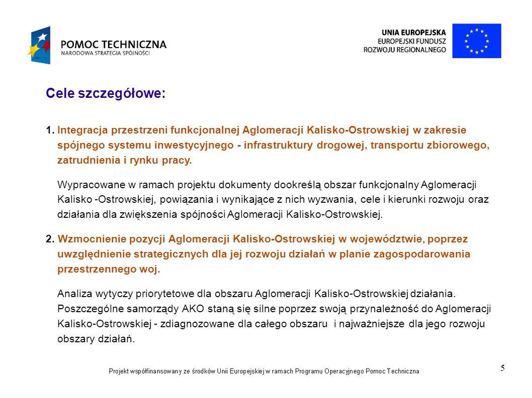 5 Cele szczegółowe: 1.Integracja przestrzeni funkcjonalnej Aglomeracji Kalisko-Ostrowskiej w zakresie spójnego systemu inwestycyjnego - infrastruktury