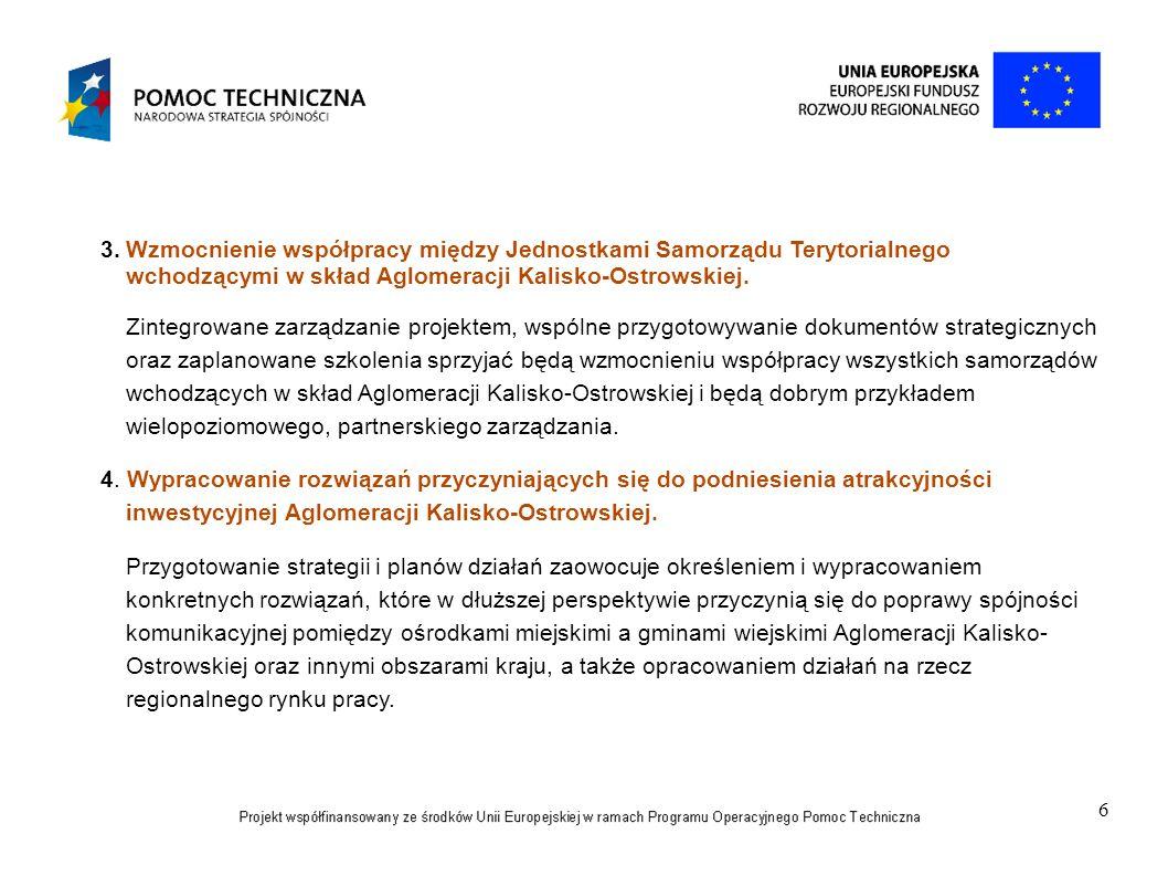 6 3.Wzmocnienie współpracy między Jednostkami Samorządu Terytorialnego wchodzącymi w skład Aglomeracji Kalisko-Ostrowskiej. Zintegrowane zarządzanie p