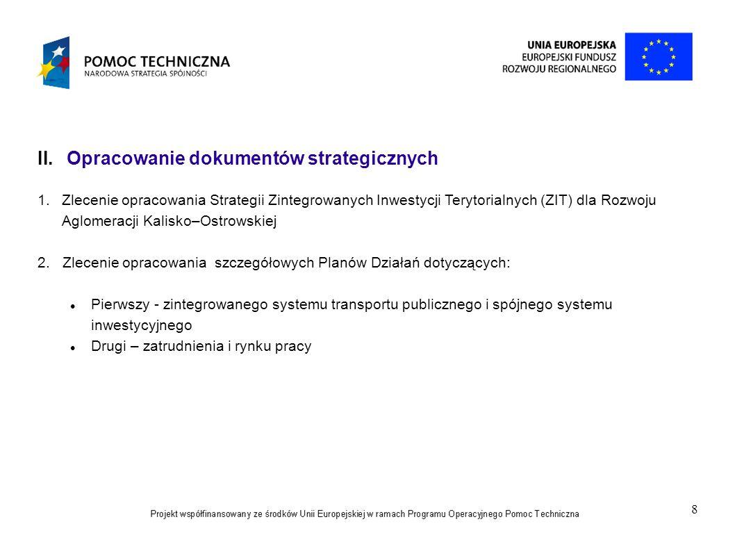 8 II. Opracowanie dokumentów strategicznych 1.Zlecenie opracowania Strategii Zintegrowanych Inwestycji Terytorialnych (ZIT) dla Rozwoju Aglomeracji Ka