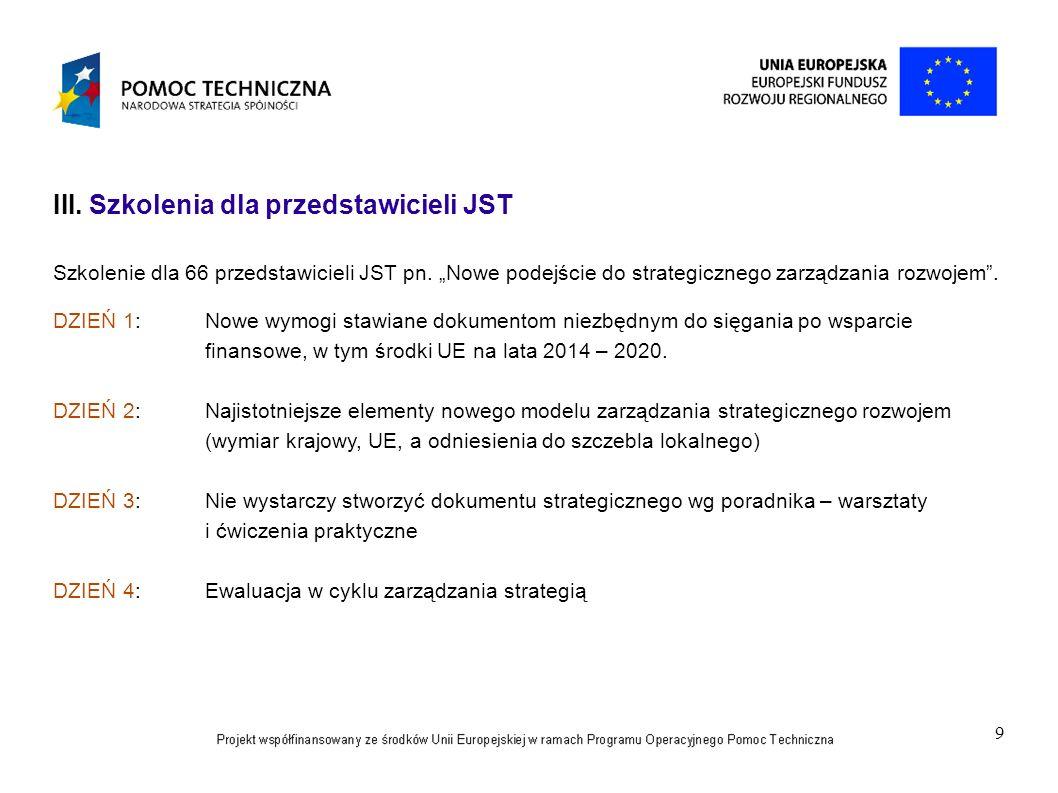 9 III. Szkolenia dla przedstawicieli JST Szkolenie dla 66 przedstawicieli JST pn. Nowe podejście do strategicznego zarządzania rozwojem. DZIEŃ 1:Nowe