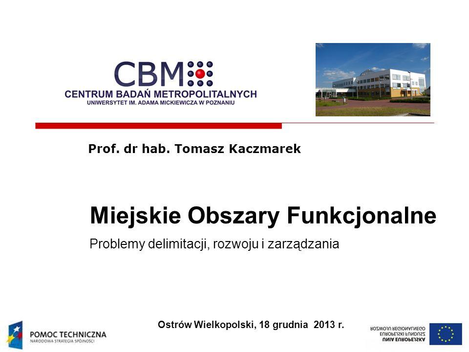 Miejskie Obszary Funkcjonalne Problemy delimitacji, rozwoju i zarządzania Prof. dr hab. Tomasz Kaczmarek Ostrów Wielkopolski, 18 grudnia 2013 r.