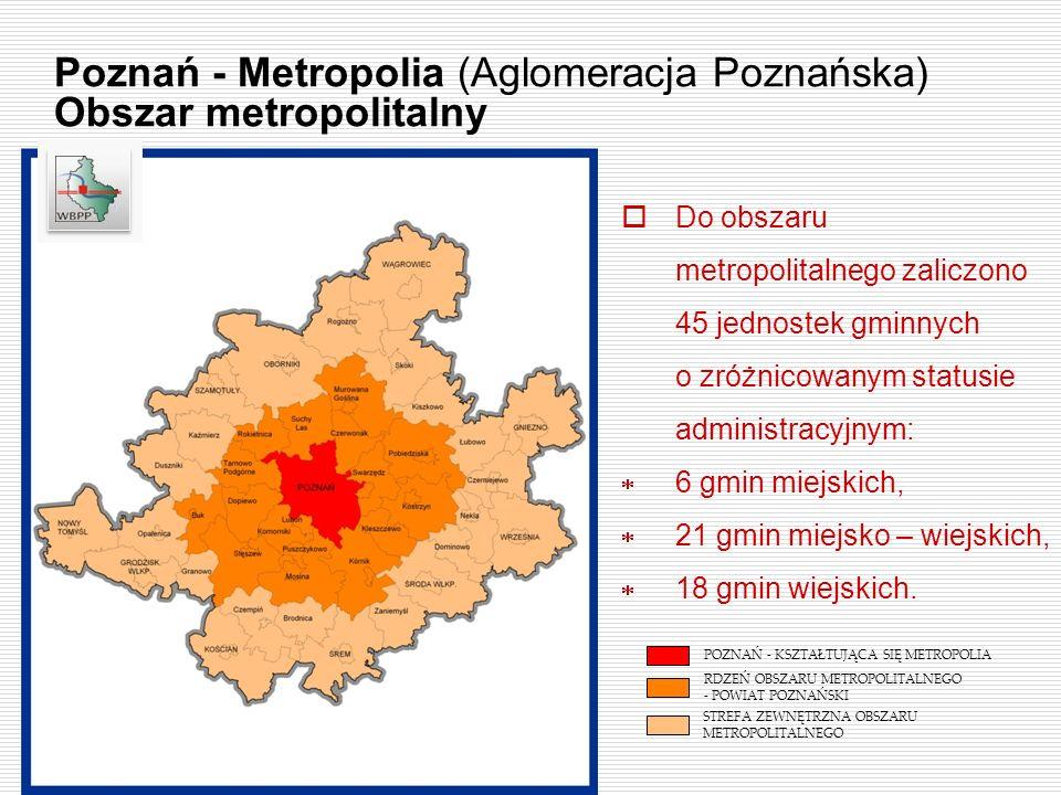 Do obszaru metropolitalnego zaliczono 45 jednostek gminnych o zróżnicowanym statusie administracyjnym: 6 gmin miejskich, 21 gmin miejsko – wiejskich,