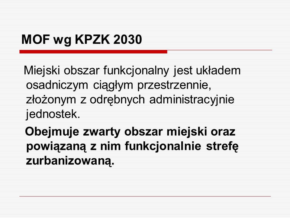 MOF wg KPZK 2030 Miejski obszar funkcjonalny jest układem osadniczym ciągłym przestrzennie, złożonym z odrębnych administracyjnie jednostek. Obejmuje