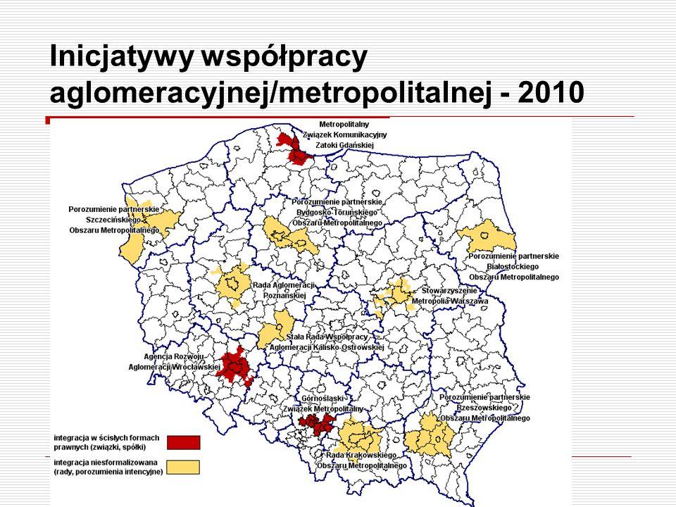 Inicjatywy współpracy aglomeracyjnej/metropolitalnej - 2010