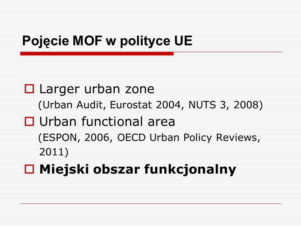 MOF wg KPZK 2030 Miejski obszar funkcjonalny jest układem osadniczym ciągłym przestrzennie, złożonym z odrębnych administracyjnie jednostek.