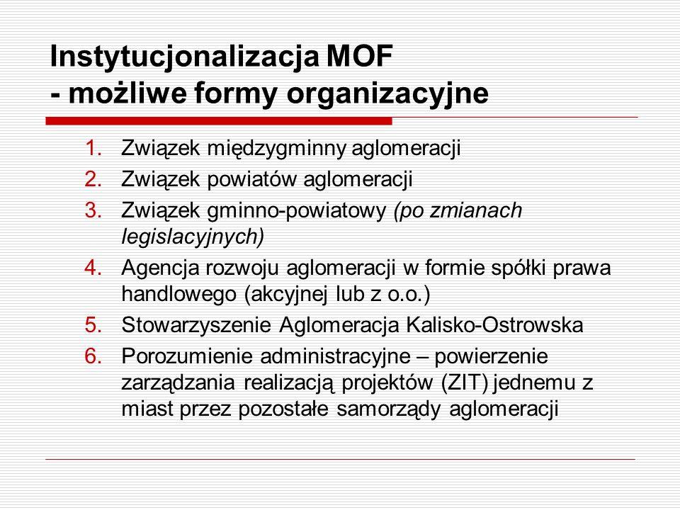 Instytucjonalizacja MOF - możliwe formy organizacyjne 1.Związek międzygminny aglomeracji 2.Związek powiatów aglomeracji 3.Związek gminno-powiatowy (po