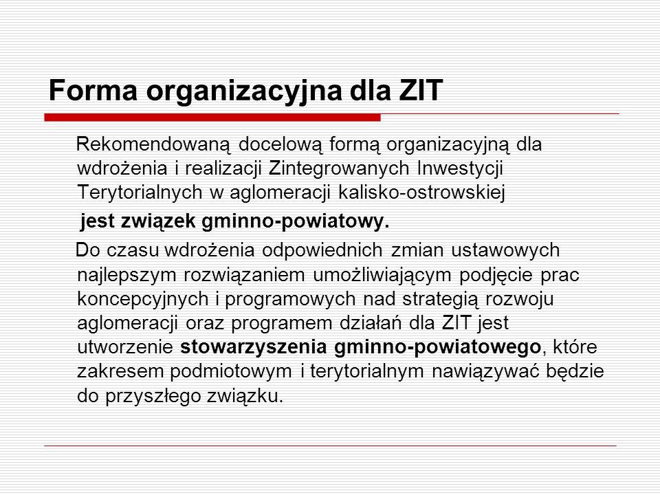 Forma organizacyjna dla ZIT Rekomendowaną docelową formą organizacyjną dla wdrożenia i realizacji Zintegrowanych Inwestycji Terytorialnych w aglomerac