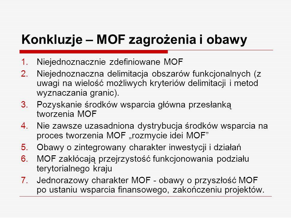 Konkluzje – MOF zagrożenia i obawy 1.Niejednoznacznie zdefiniowane MOF 2.Niejednoznaczna delimitacja obszarów funkcjonalnych (z uwagi na wielość możli