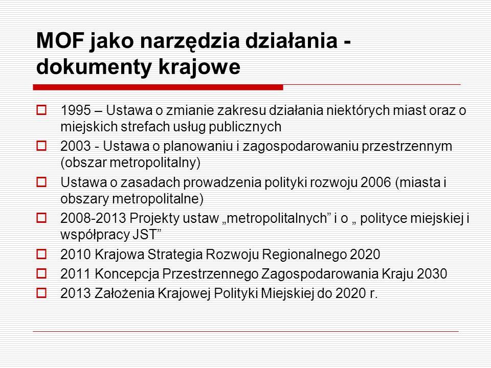 MOF jako narzędzia działania - dokumenty krajowe 1995 – Ustawa o zmianie zakresu działania niektórych miast oraz o miejskich strefach usług publicznyc
