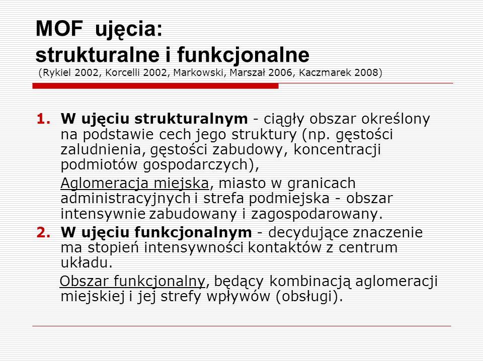 MOF ujęcia: strukturalne i funkcjonalne (Rykiel 2002, Korcelli 2002, Markowski, Marszał 2006, Kaczmarek 2008) 1.W ujęciu strukturalnym - ciągły obszar