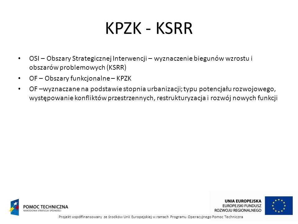 KPZK - KSRR OSI – Obszary Strategicznej Interwencji – wyznaczenie biegunów wzrostu i obszarów problemowych (KSRR) OF – Obszary funkcjonalne – KPZK OF