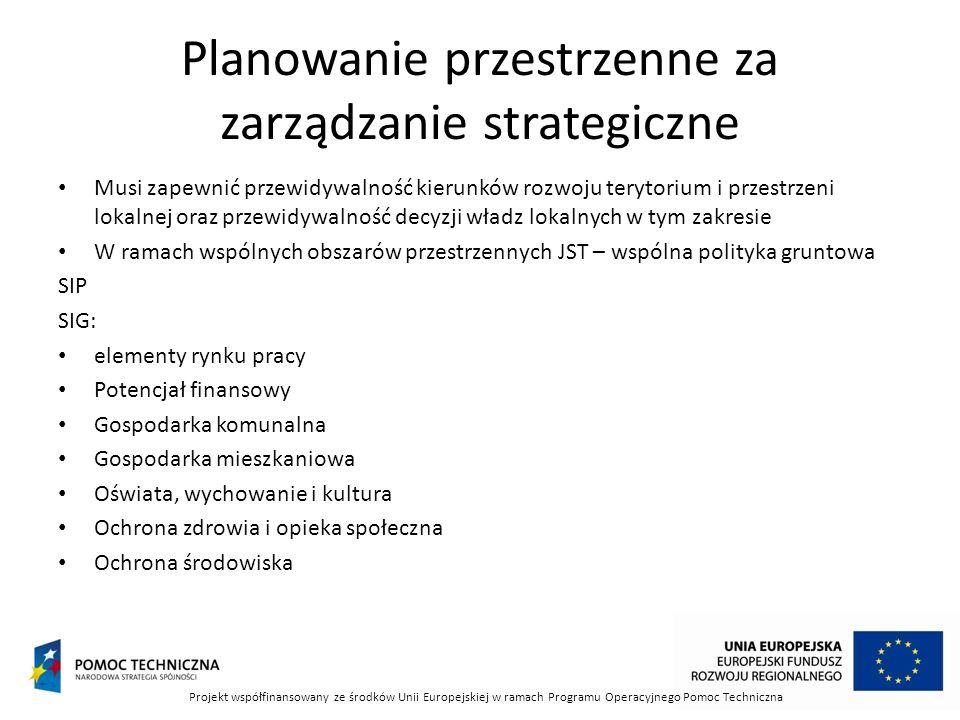 Planowanie przestrzenne za zarządzanie strategiczne Musi zapewnić przewidywalność kierunków rozwoju terytorium i przestrzeni lokalnej oraz przewidywal