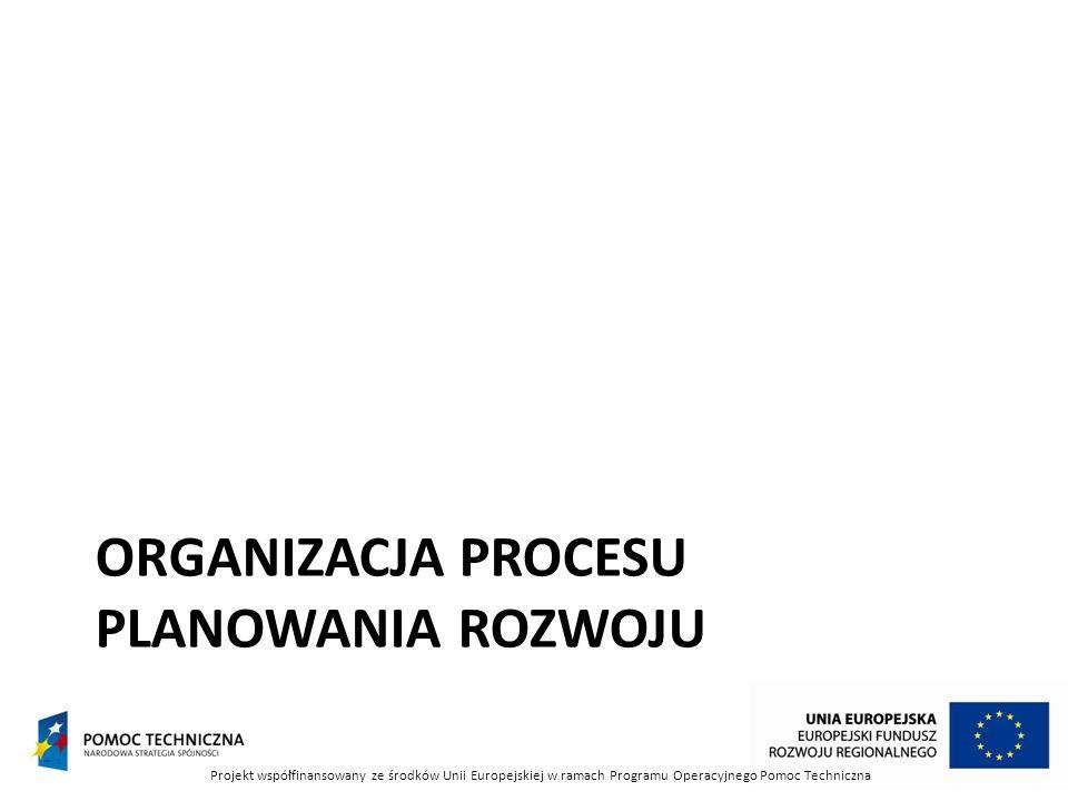 ORGANIZACJA PROCESU PLANOWANIA ROZWOJU Projekt współfinansowany ze środków Unii Europejskiej w ramach Programu Operacyjnego Pomoc Techniczna