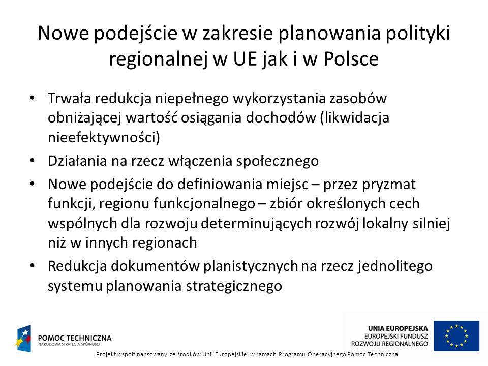 Nowe podejście w zakresie planowania polityki regionalnej w UE jak i w Polsce Trwała redukcja niepełnego wykorzystania zasobów obniżającej wartość osi