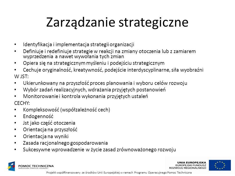 Zarządzanie strategiczne Identyfikacja i implementacja strategii organizacji Definiuje i redefiniuje strategie w reakcji na zmiany otoczenia lub z zam