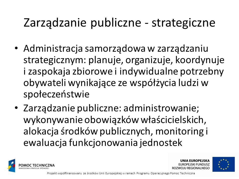 Zarządzanie publiczne - strategiczne Administracja samorządowa w zarządzaniu strategicznym: planuje, organizuje, koordynuje i zaspokaja zbiorowe i ind