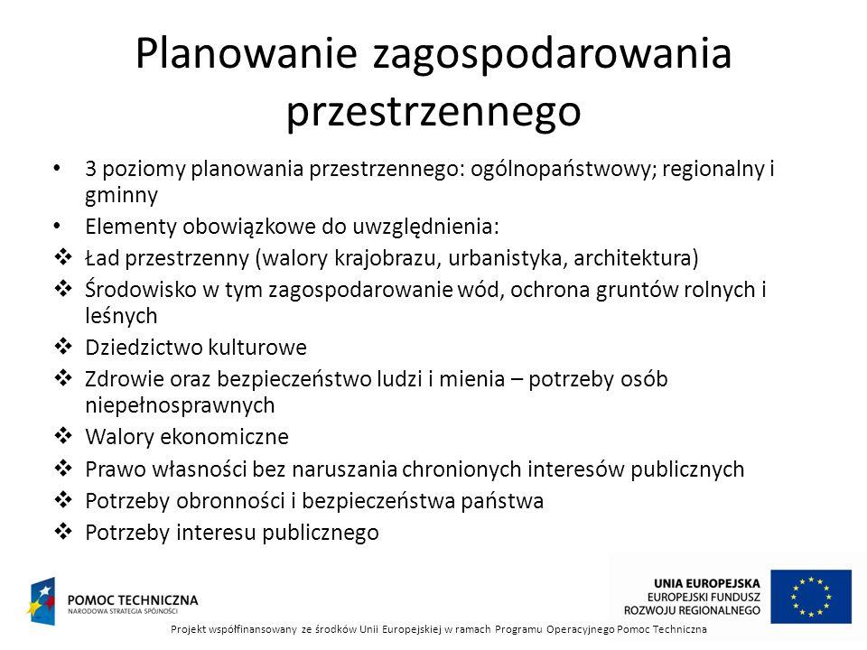 Planowanie zagospodarowania przestrzennego 3 poziomy planowania przestrzennego: ogólnopaństwowy; regionalny i gminny Elementy obowiązkowe do uwzględni