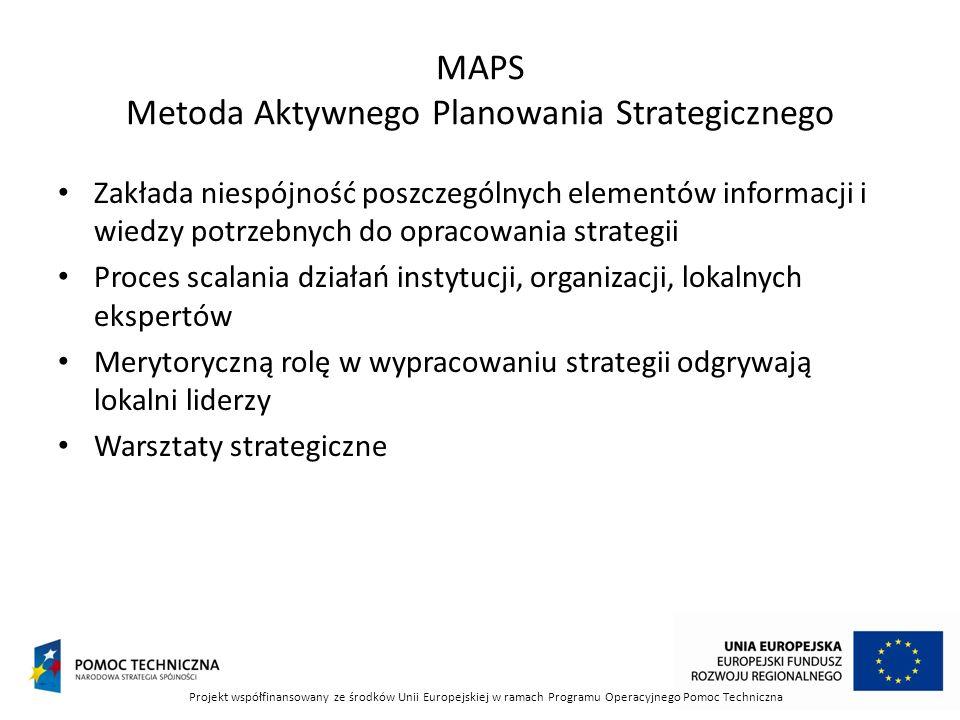 MAPS Metoda Aktywnego Planowania Strategicznego Zakłada niespójność poszczególnych elementów informacji i wiedzy potrzebnych do opracowania strategii