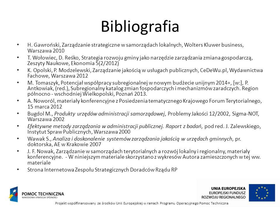 Bibliografia H. Gawroński, Zarządzanie strategiczne w samorządach lokalnych, Wolters Kluwer business, Warszawa 2010 T. Wołowiec, D. Reśko, Strategia r