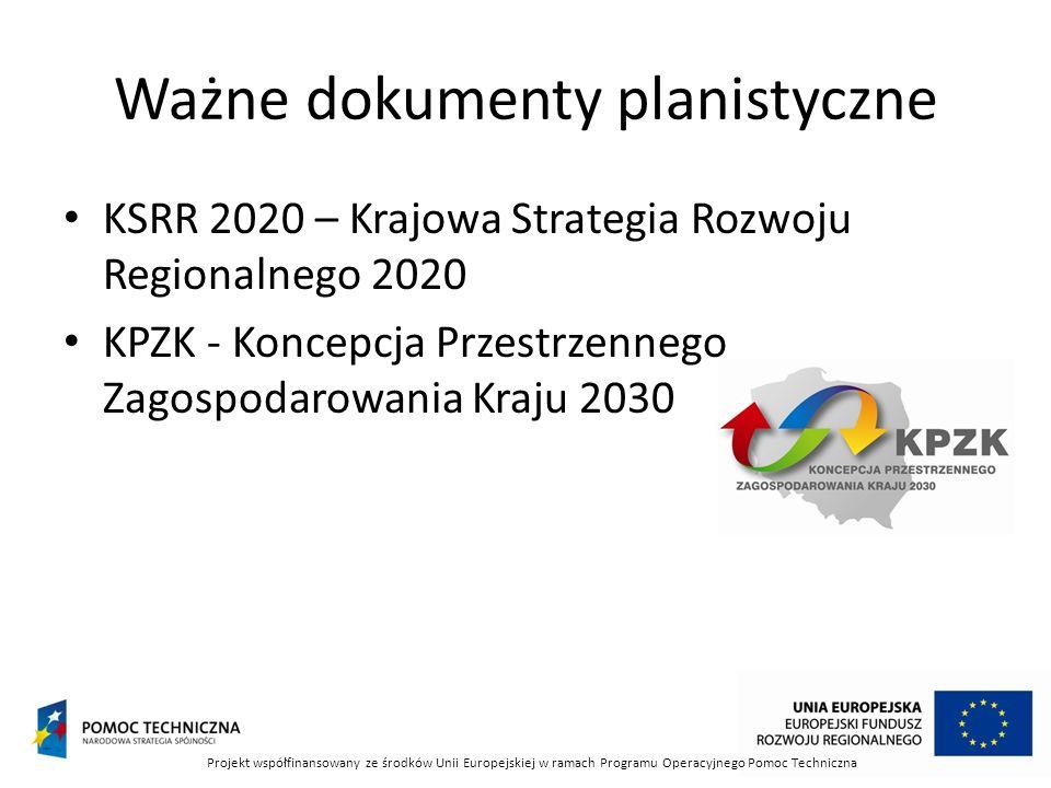Ważne dokumenty planistyczne KSRR 2020 – Krajowa Strategia Rozwoju Regionalnego 2020 KPZK - Koncepcja Przestrzennego Zagospodarowania Kraju 2030 Proje