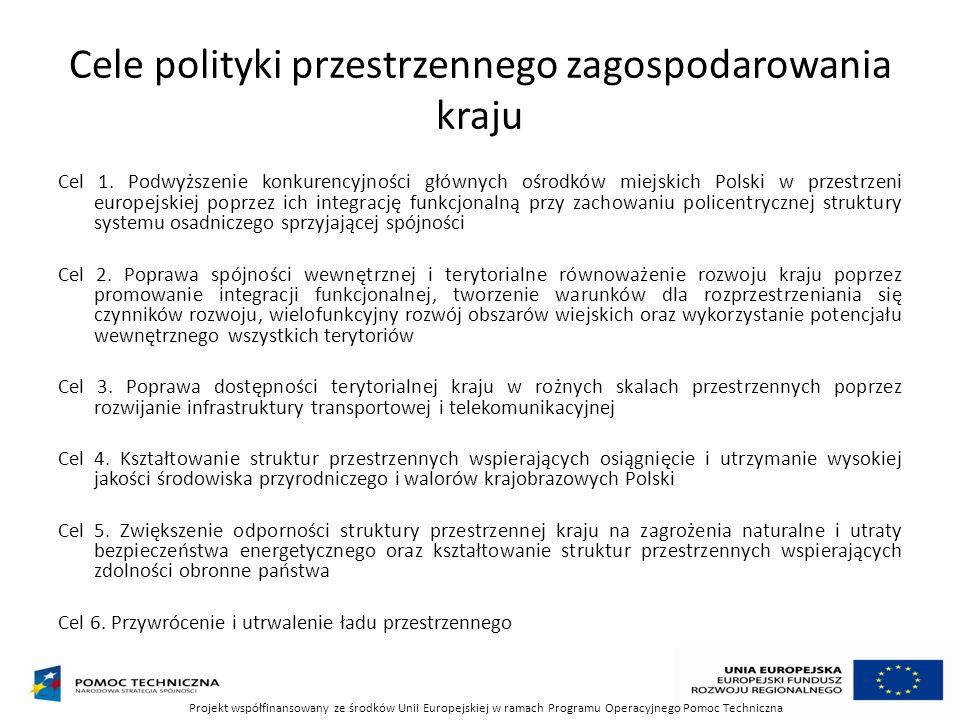 Cele polityki przestrzennego zagospodarowania kraju Cel 1. Podwyższenie konkurencyjności głównych ośrodków miejskich Polski w przestrzeni europejskiej