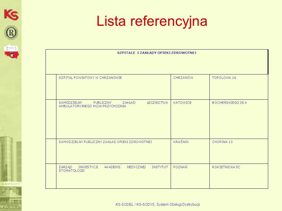 KS-SODEL / KS-SODYS, System Obsługi Dystrybucji Lista referencyjna ROKIETNICKA 5CPOZNAŃZARZĄD INWESTYCJI AKADEMII MEDYCZNEJ INSTYTUT STOMATOLOGII CHOP