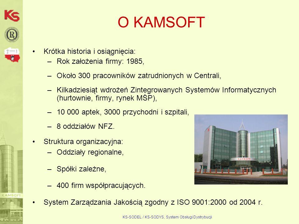 KS-SODEL / KS-SODYS, System Obsługi Dystrybucji O KAMSOFT Krótka historia i osiągnięcia: –Rok założenia firmy: 1985, –Około 300 pracowników zatrudnion