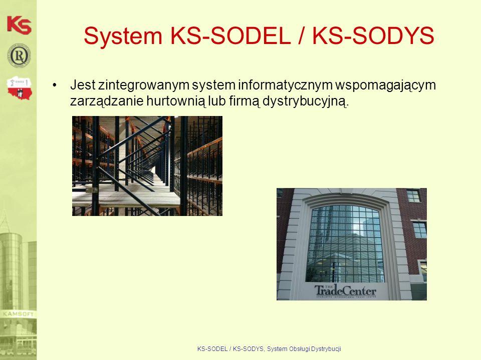 KS-SODEL / KS-SODYS, System Obsługi Dystrybucji System KS-SODEL / KS-SODYS KS-HFW/KS-HOW Gospodarka magazynowa, dystrybucja KS-FKW Finanse i Księgowość KS-ESM Śr.trwałe KS-ZZL Kadry i Płace KS-CRM Kontakty z klientem KS-PBC Planow.