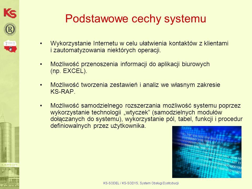 KS-SODEL / KS-SODYS, System Obsługi Dystrybucji Podstawowe cechy systemu Wykorzystanie Internetu w celu ułatwienia kontaktów z klientami i zautomatyzo