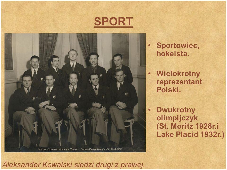 SPORT Aleksander Kowalski siedzi drugi z prawej.Sportowiec, hokeista.