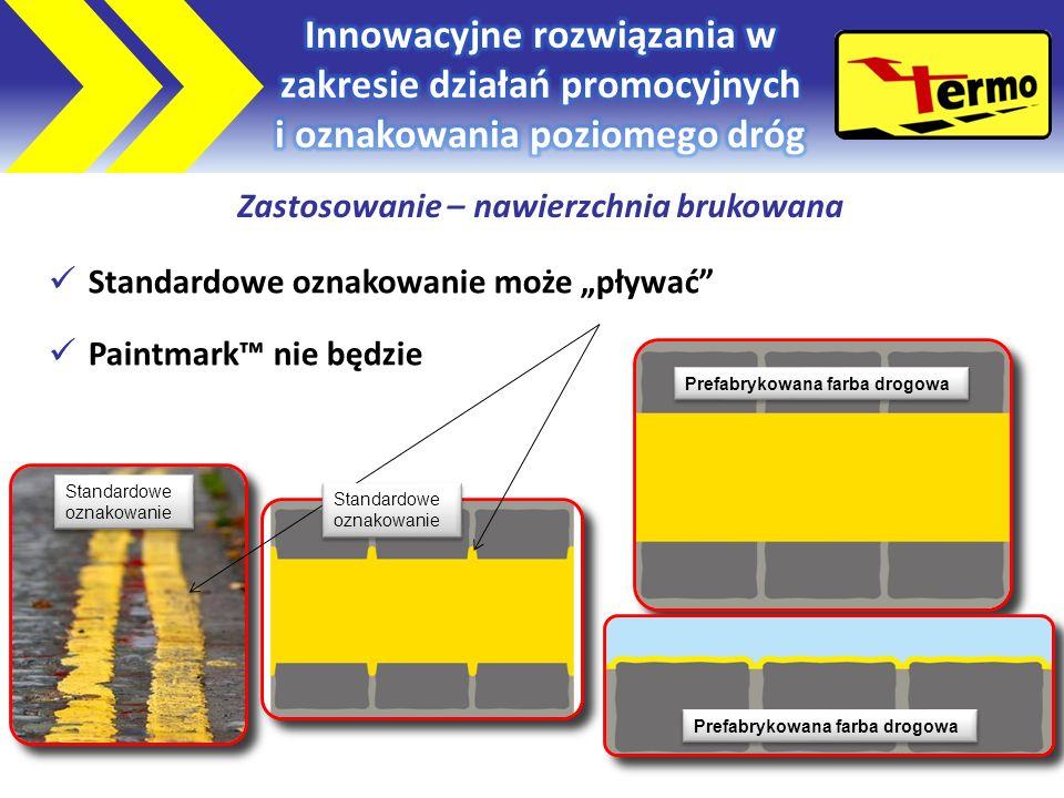 Zastosowanie – nawierzchnia brukowana Standardowe oznakowanie może pływać Paintmark nie będzie Standardowe oznakowanie Prefabrykowana farba drogowa Standardowe oznakowanie Prefabrykowana farba drogowa