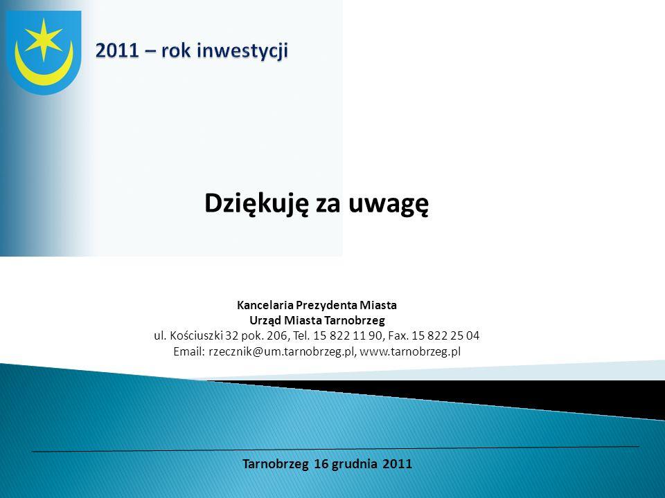 Dziękuję za uwagę Kancelaria Prezydenta Miasta Urząd Miasta Tarnobrzeg ul. Kościuszki 32 pok. 206, Tel. 15 822 11 90, Fax. 15 822 25 04 Email: rzeczni