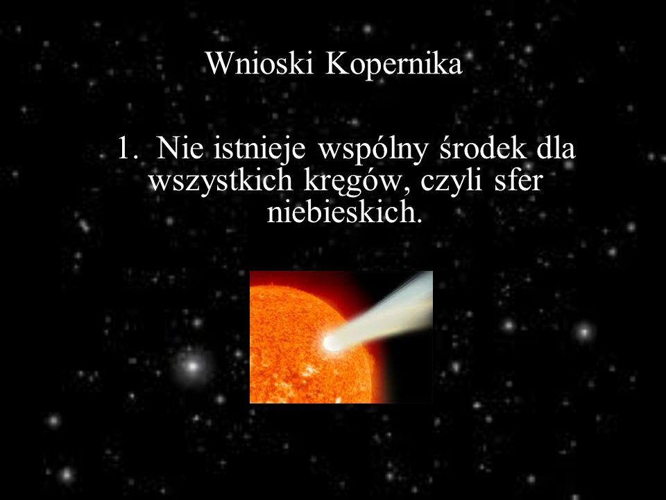 Wnioski Kopernika 1. Nie istnieje wspólny środek dla wszystkich kręgów, czyli sfer niebieskich.