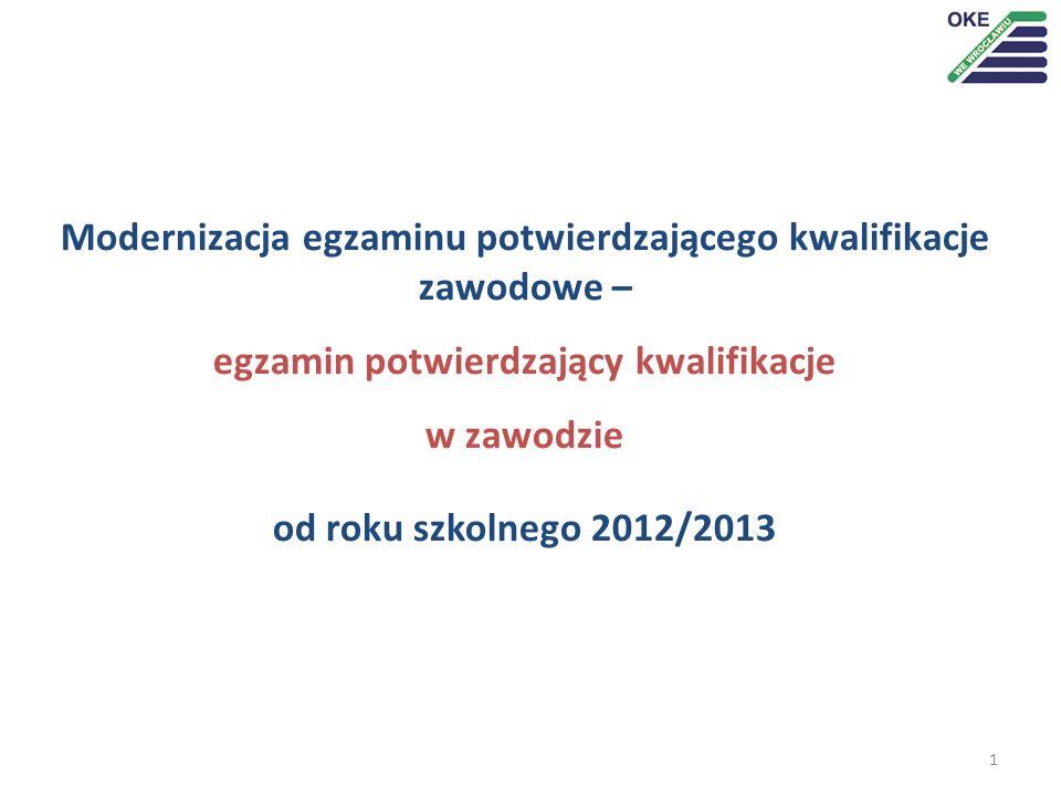 1 Modernizacja egzaminu potwierdzającego kwalifikacje zawodowe – egzamin potwierdzający kwalifikacje w zawodzie od roku szkolnego 2012/2013