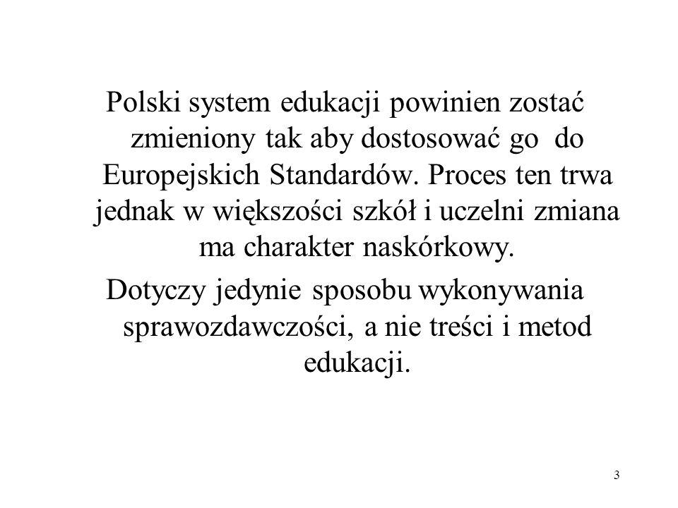 3 Polski system edukacji powinien zostać zmieniony tak aby dostosować go do Europejskich Standardów. Proces ten trwa jednak w większości szkół i uczel