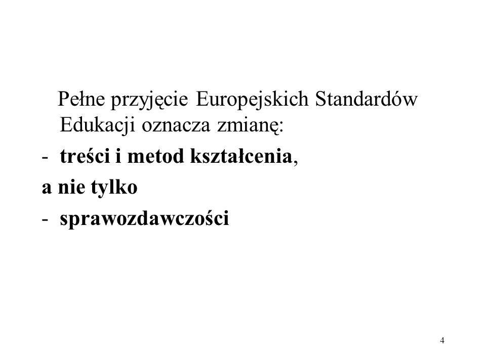 4 Pełne przyjęcie Europejskich Standardów Edukacji oznacza zmianę: -treści i metod kształcenia, a nie tylko -sprawozdawczości